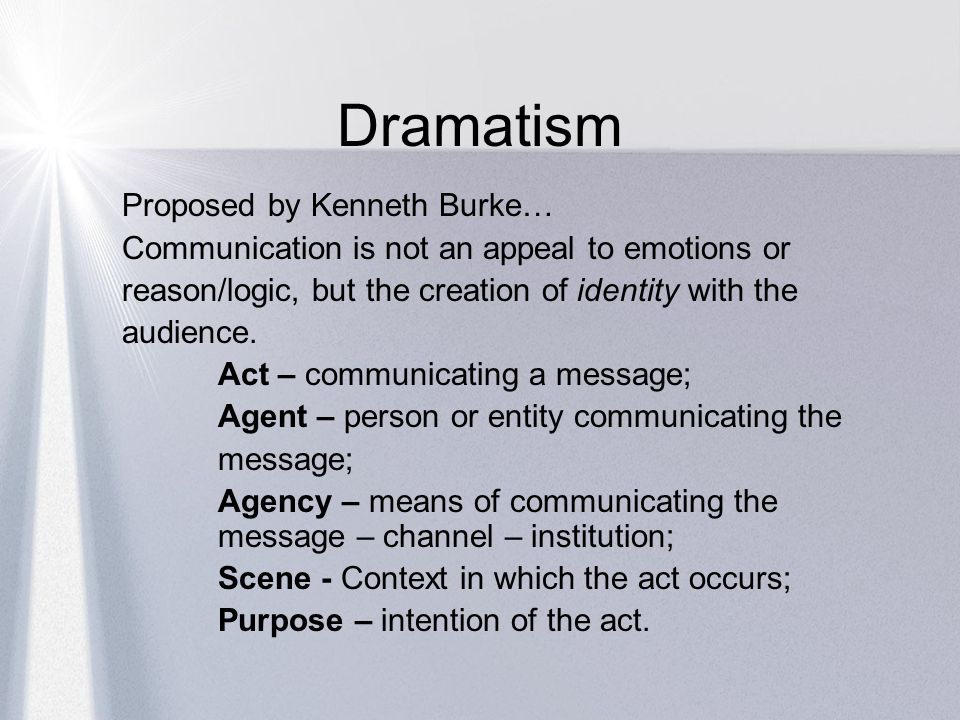 Dramatism Proposed by Kenneth Burke…