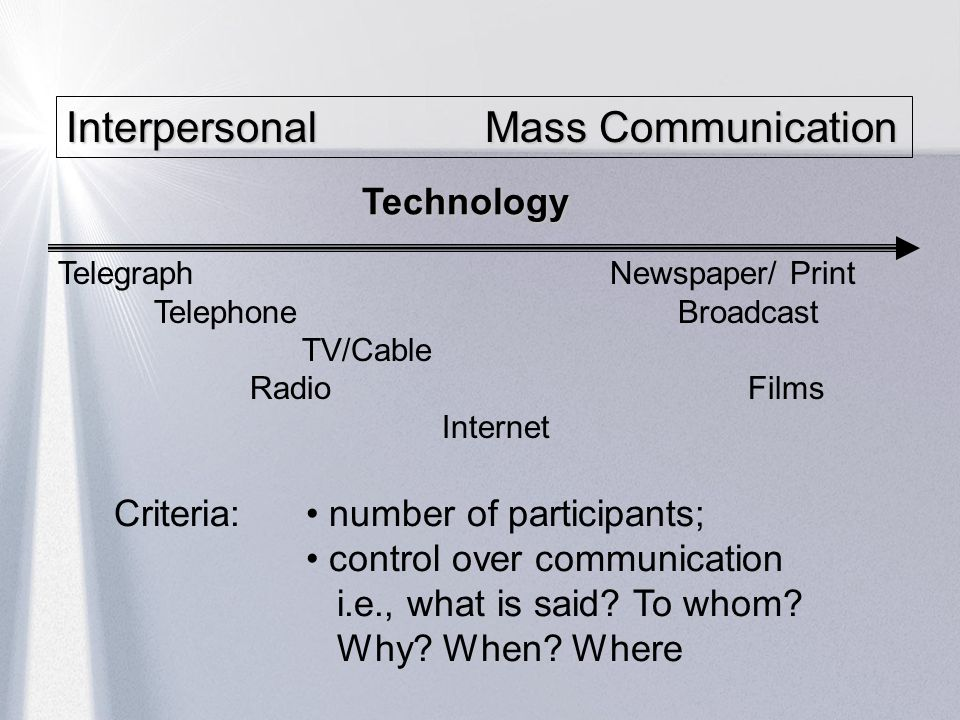 Interpersonal Mass Communication