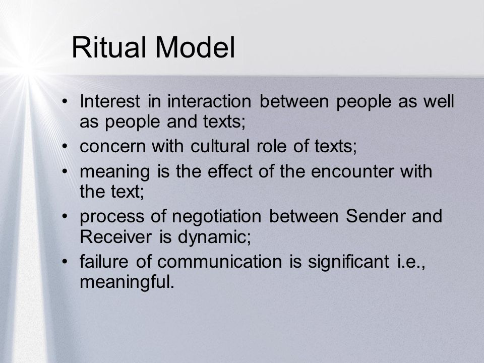 Ritual Model Interest in interaction between people as well as people and texts; concern with cultural role of texts;