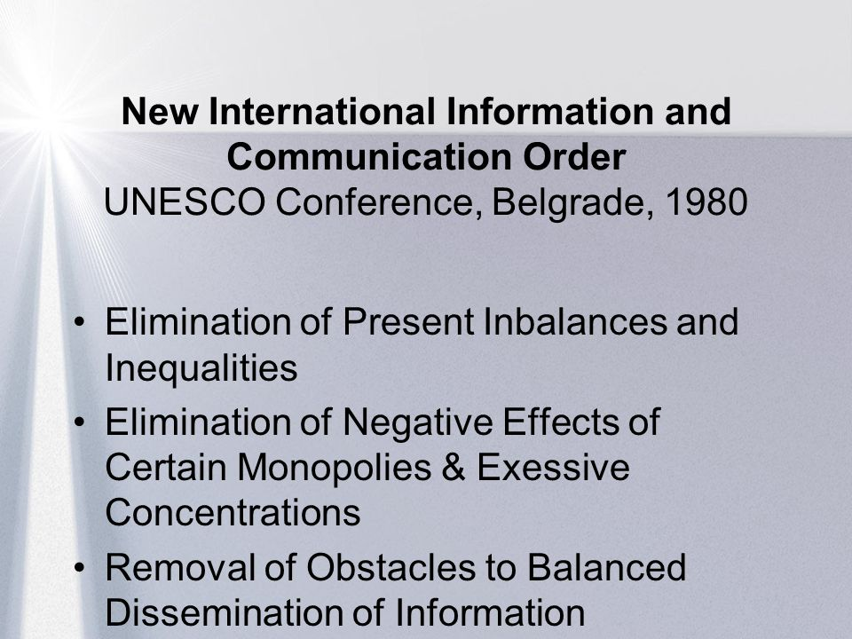 New International Information and Communication Order UNESCO Conference, Belgrade, 1980