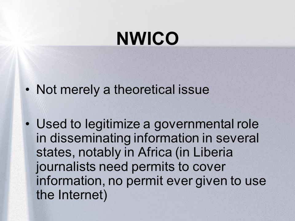 NWICO Not merely a theoretical issue