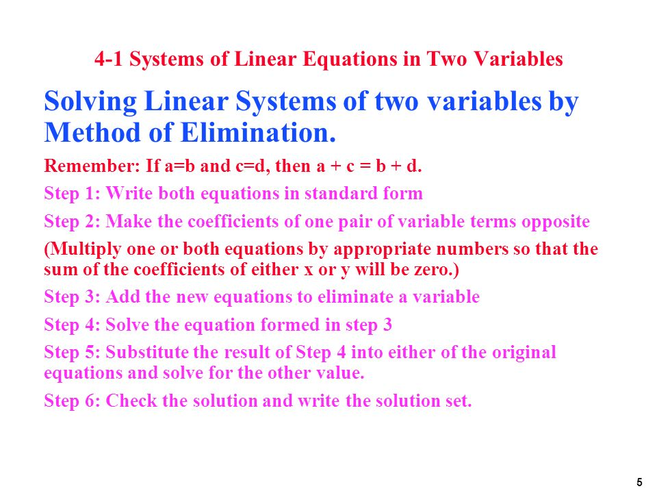 how to solve simultaneous linear equations in two variables 4
