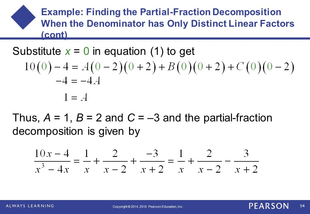 how to find the partial fraction decomposition