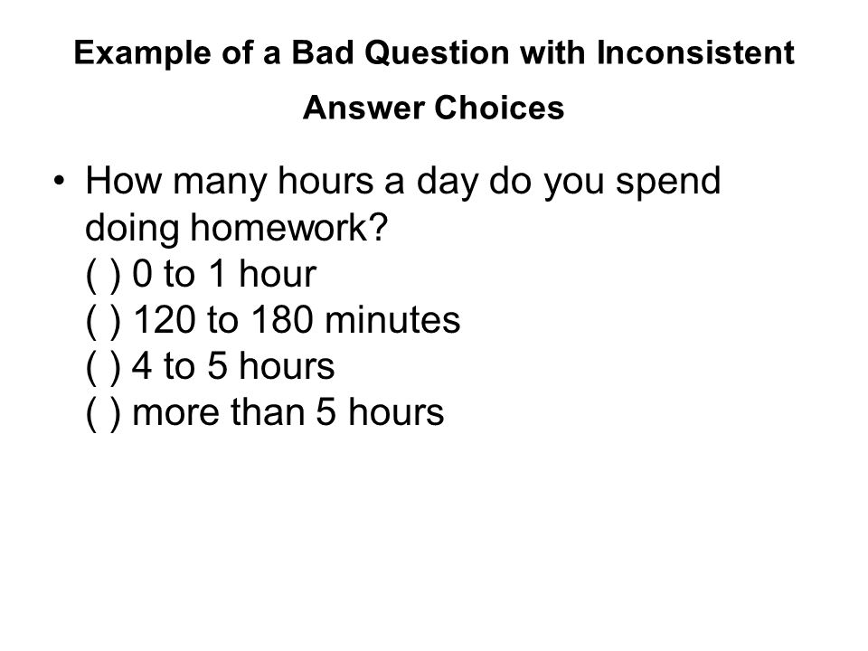 Questions for homework survey