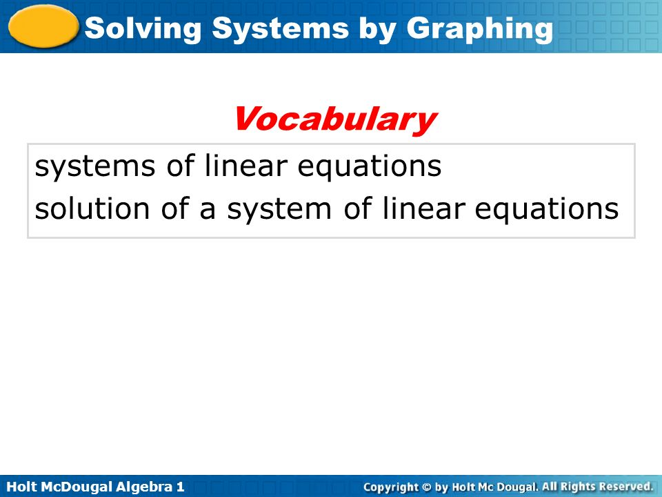 Vocabulary systems of linear equations