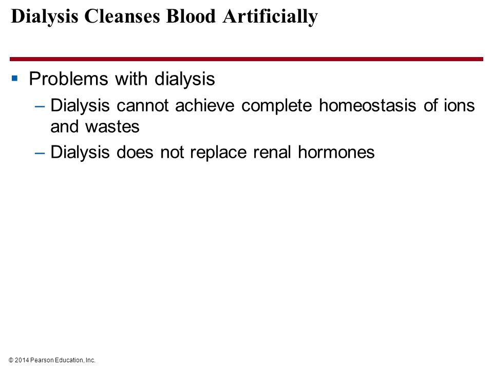 homeostatic imblalnces a person on dialysis Homeostatic imbalances a person on dialysis might face ge 259 mike myers instructor dr loc homeostasis enables the body s system to function as expected.