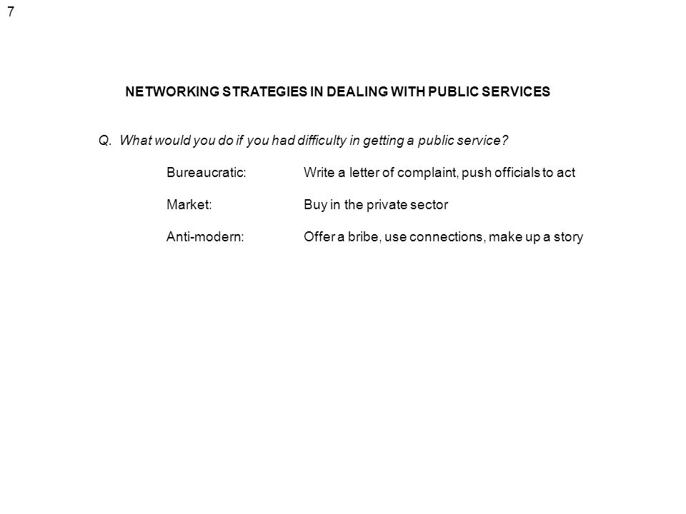 7 NETWORKING STRATEGIES IN DEALING WITH PUBLIC SERVICES. Q. What would you do if you had difficulty in getting a public service