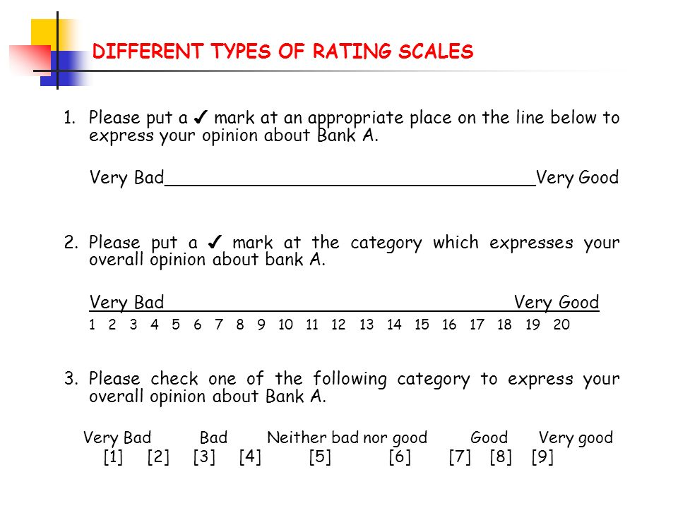 DIFFERENT TYPES OF RATING SCALES