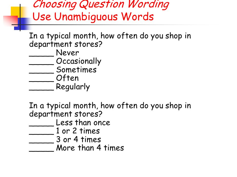 Choosing Question Wording Use Unambiguous Words