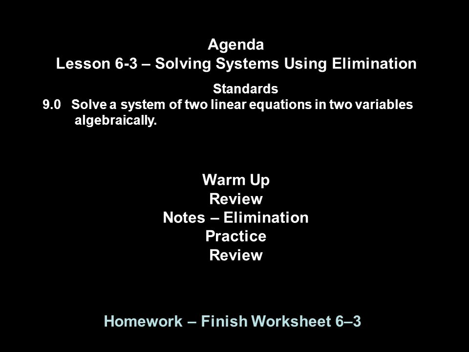 Lesson 63 Solving Systems Using Elimination ppt download – Solving Systems Using Elimination Worksheet