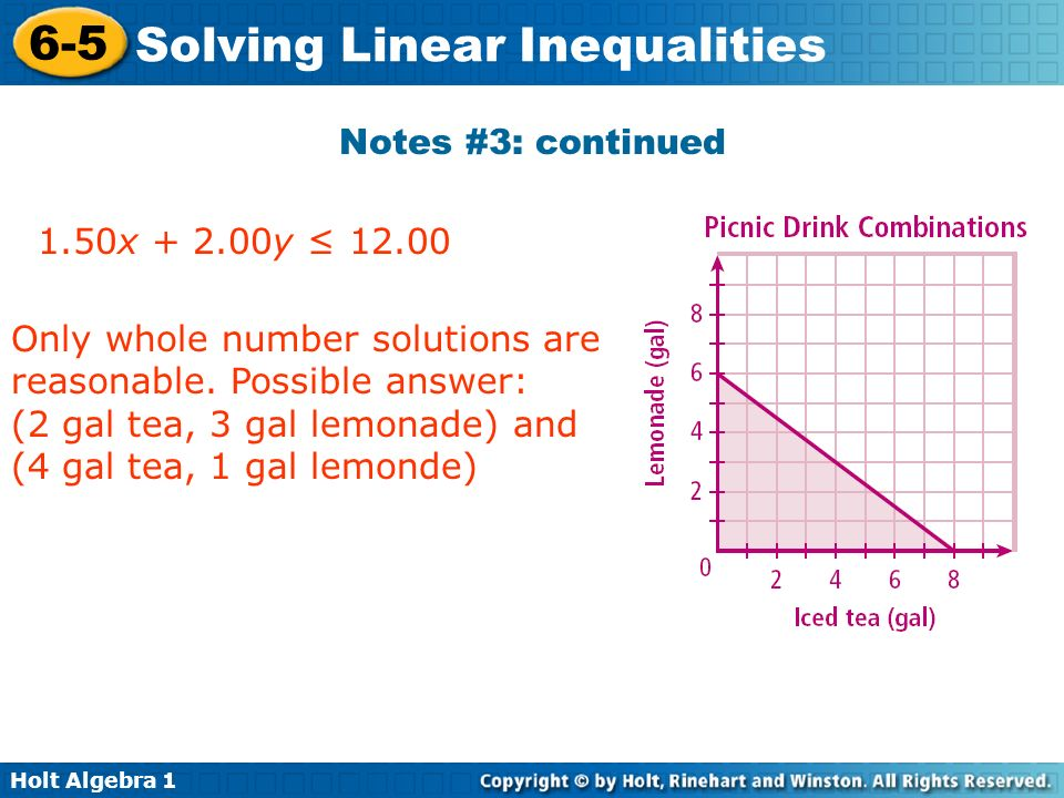Notes #3: continued 1.50x y ≤ Only whole number solutions are reasonable. Possible answer: