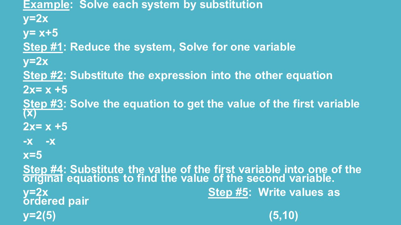 Chapter 5 systems of equations and inequalities ppt video online example solve each system by substitution robcynllc Images