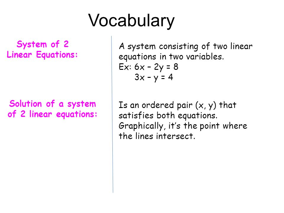 Vocabulary System of 2 Linear Equations: