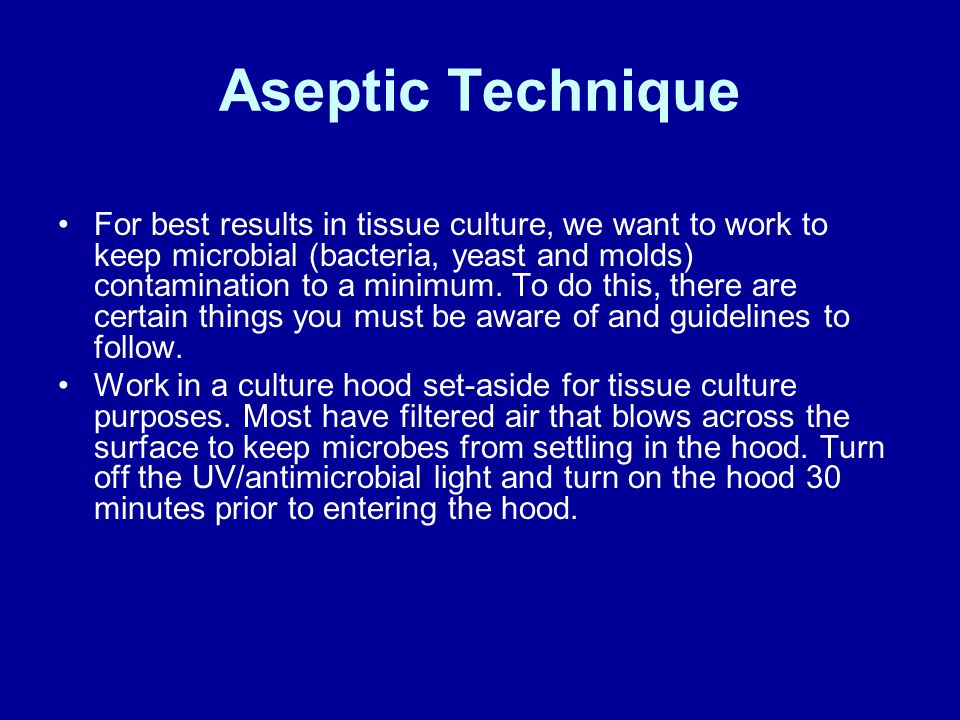 aseptic techniques microbiology report Transfer of bacteria using aseptic technique  practice hand coordination required in good transfer techniques  laboratory report.