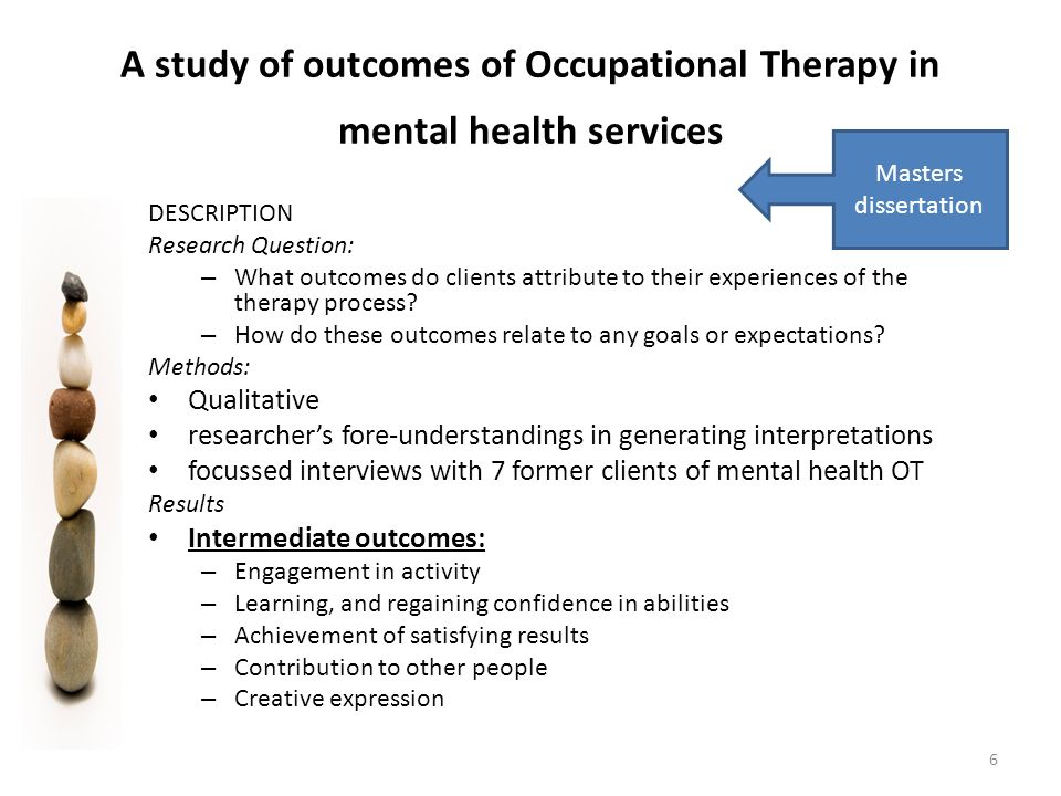 mental health and wellbeing condition understand work-related therapy