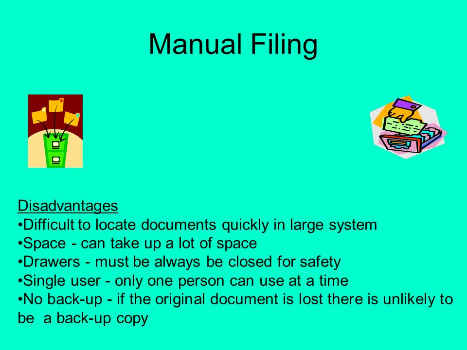 disadvantages of manual system And disadvantages of computerised accounting systems (part 2)  it is  relatively cheaper like maintaining a manual accounting system.