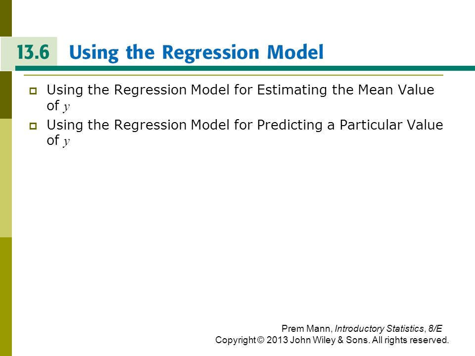 USING THE REGRESSION MODEL
