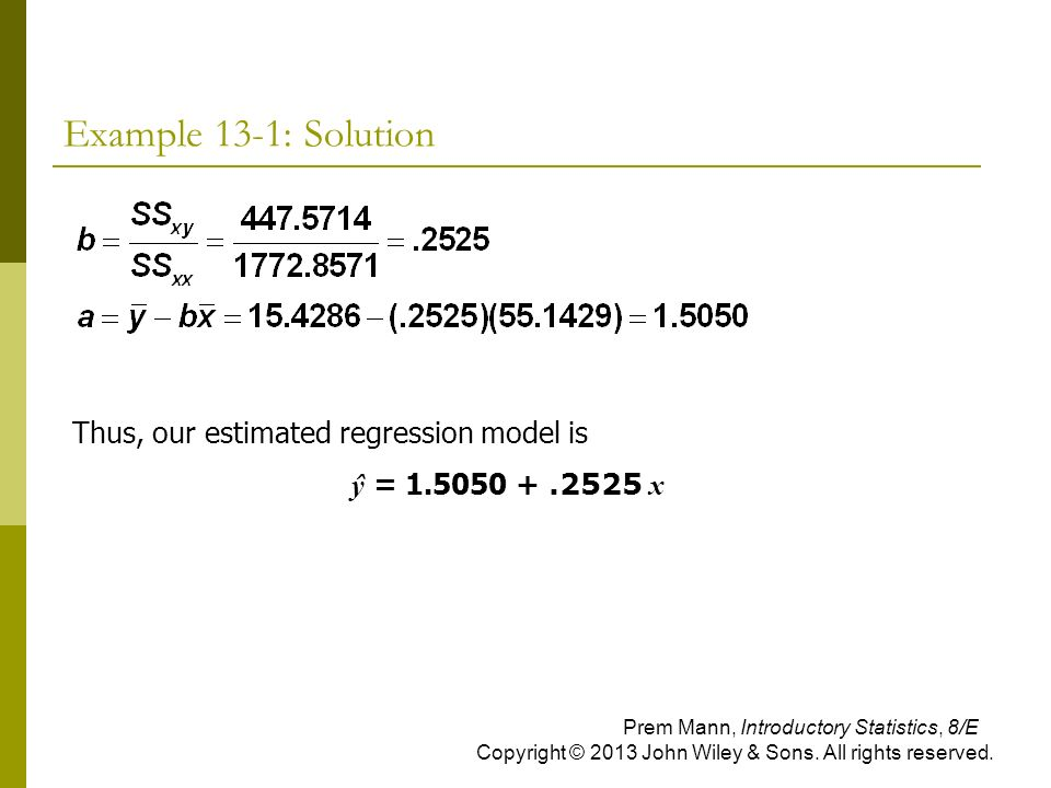Example 13-1: Solution Thus, our estimated regression model is