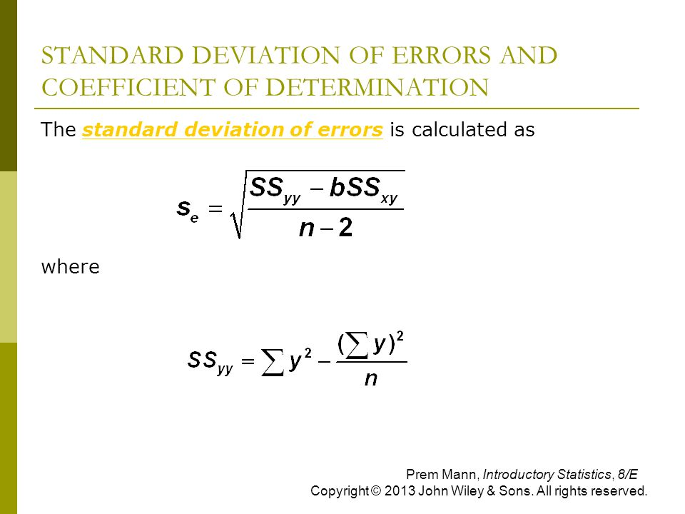 STANDARD DEVIATION OF ERRORS AND COEFFICIENT OF DETERMINATION