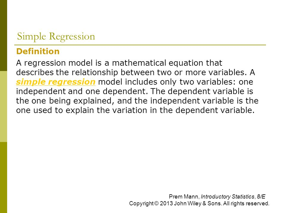 Simple Regression Definition