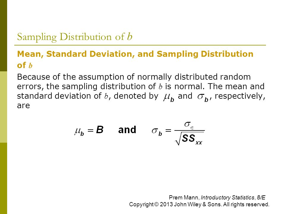 Sampling Distribution of b