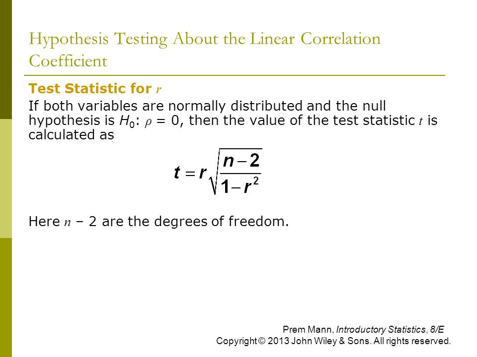 Hypothesis Testing About the Linear Correlation Coefficient