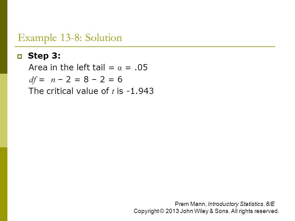 Example 13-8: Solution Step 3: Area in the left tail = α = .05