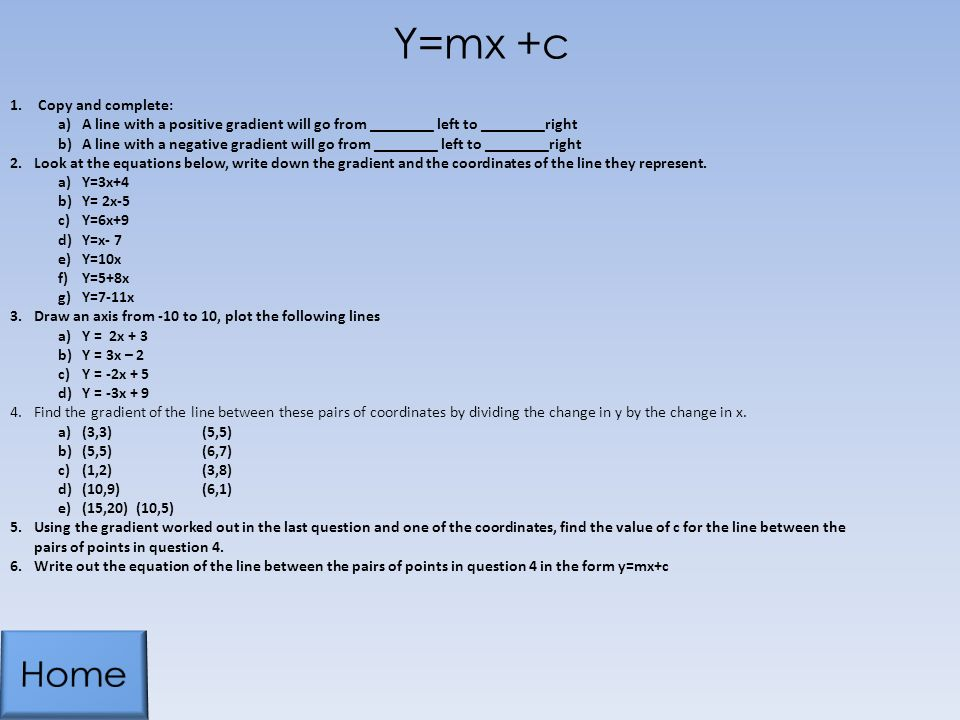 y mx c how to find c