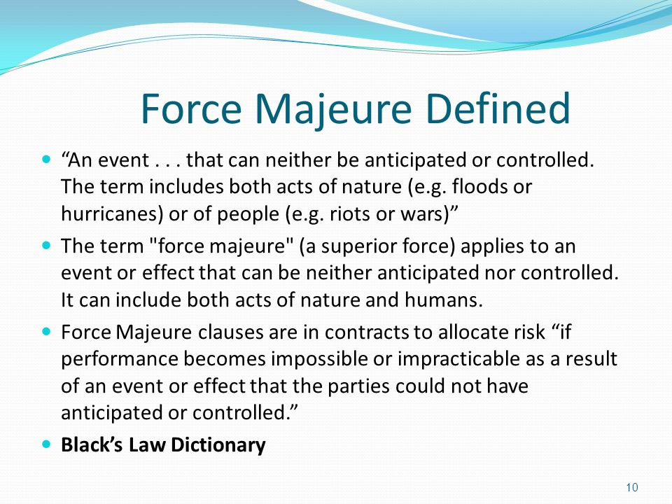 effect of force majeure act of This article covers the ground covered in common law systems by the doctrines   effects of force majeure on the rights and duties of the parties.