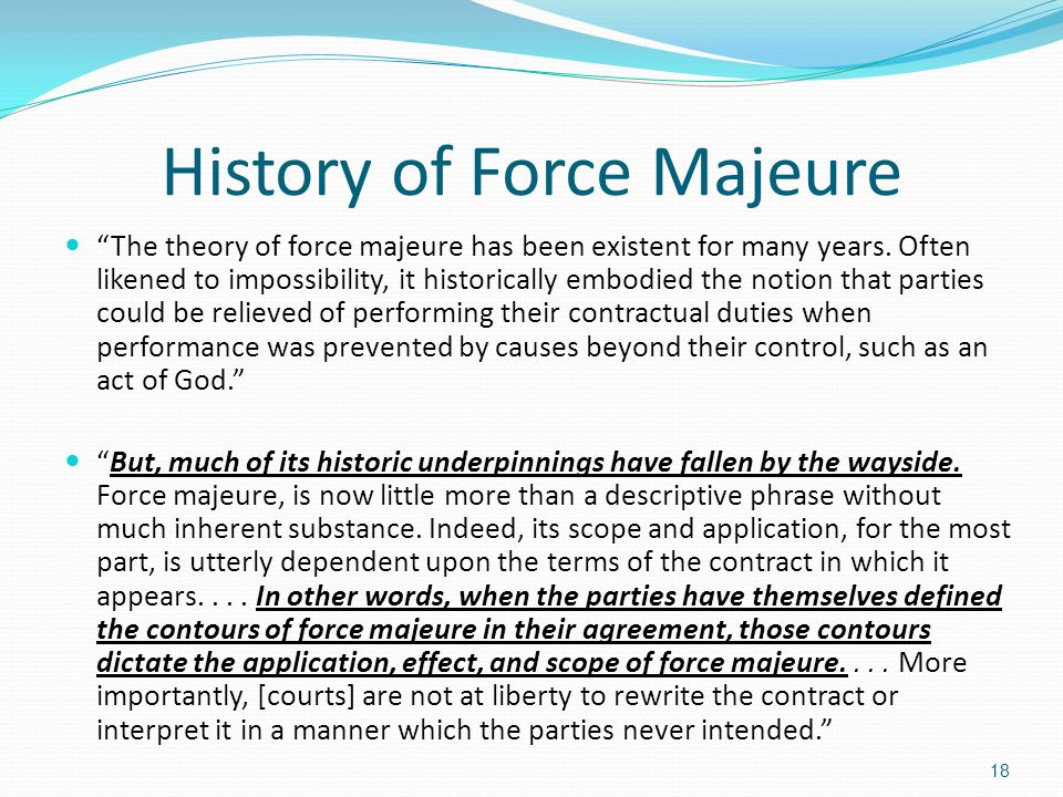 Example Of Force Majeure Clause