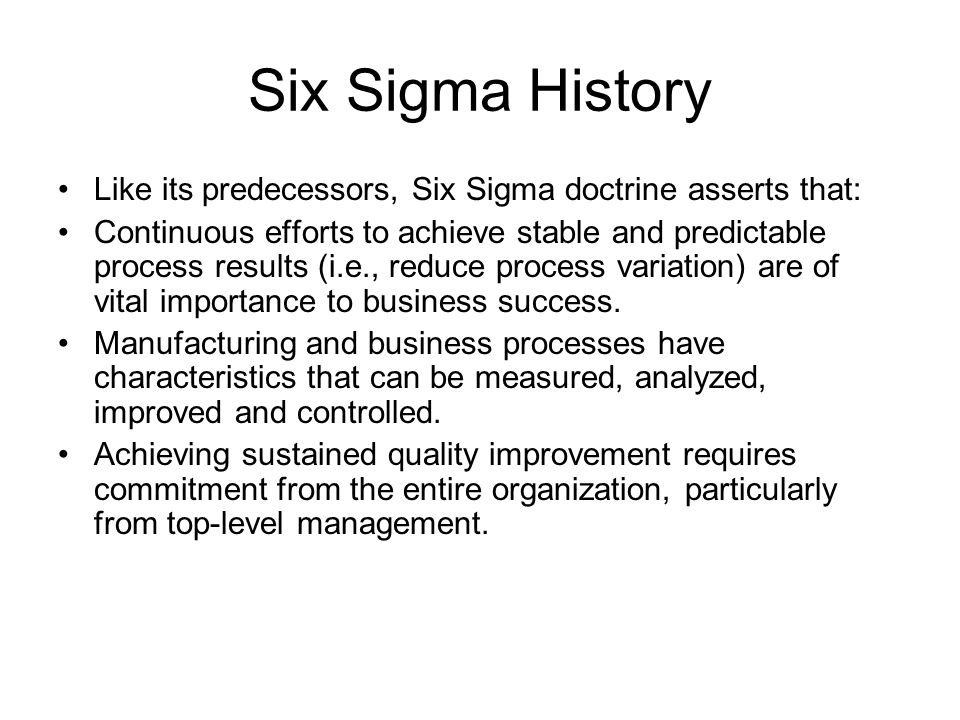 history of quality methodology Quality management is implemented in various types of businesses around the world one very important aspect of quality management is quality improvement understanding the methods involved in such improvement is paramount to the success of overall q.