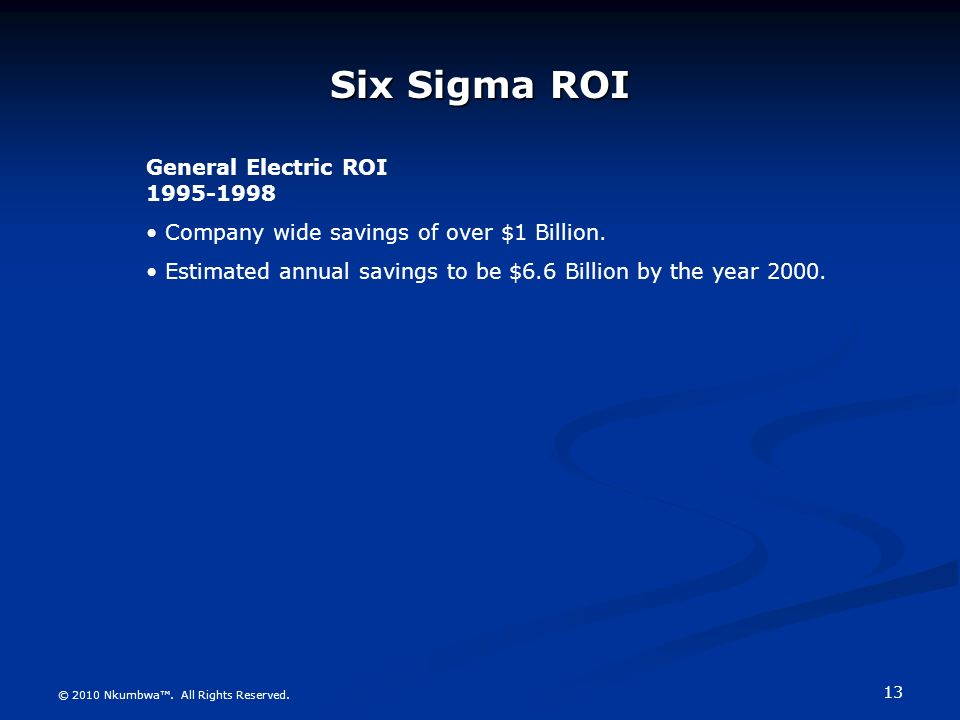 six sigma at general electric essay View essay - general electric and six sigma from ba 480 at grantham general electric general electric and six sigma general electric general electric has been named.