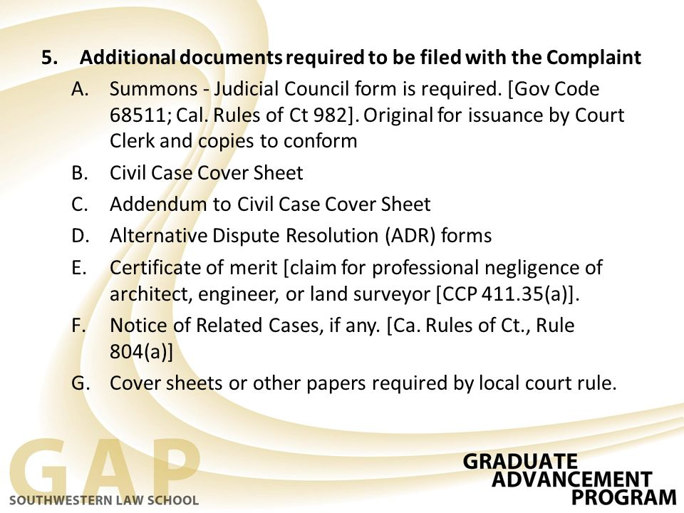 Additional Documents Required To Be Filed With The Complaint  Judicial Council Form Complaint