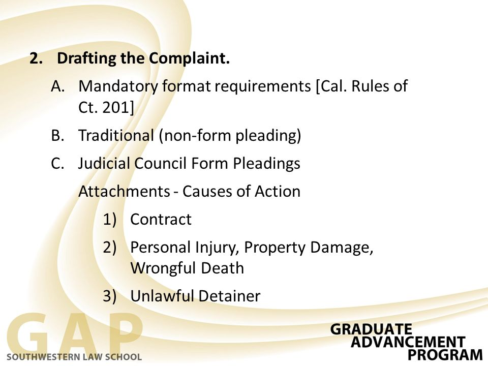 Drafting The Complaint.  Judicial Council Form Complaint