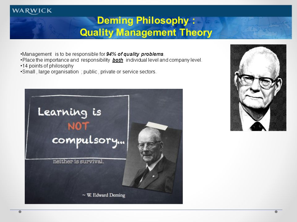 Quality principles of Deming, Juran and Crosby