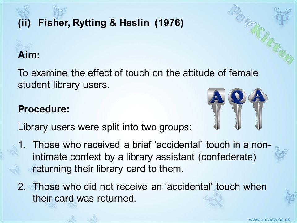 (ii) Fisher, Rytting & Heslin 1976 AQA KEY STUDY