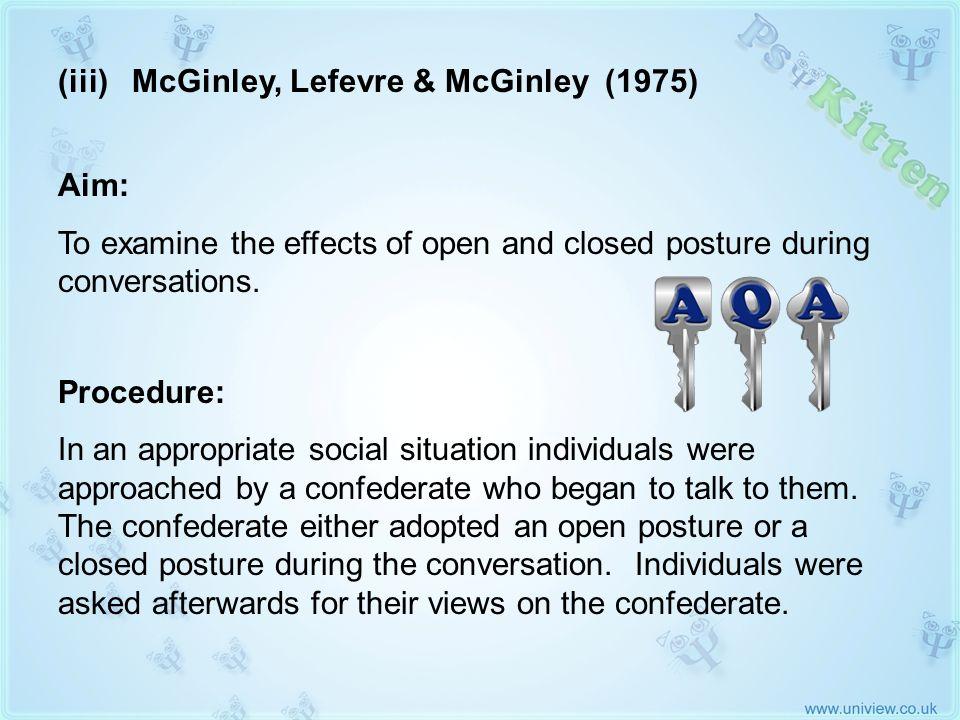 (iii) McGinley, Lefevre & McGinley 1975 AQA KEY STUDY