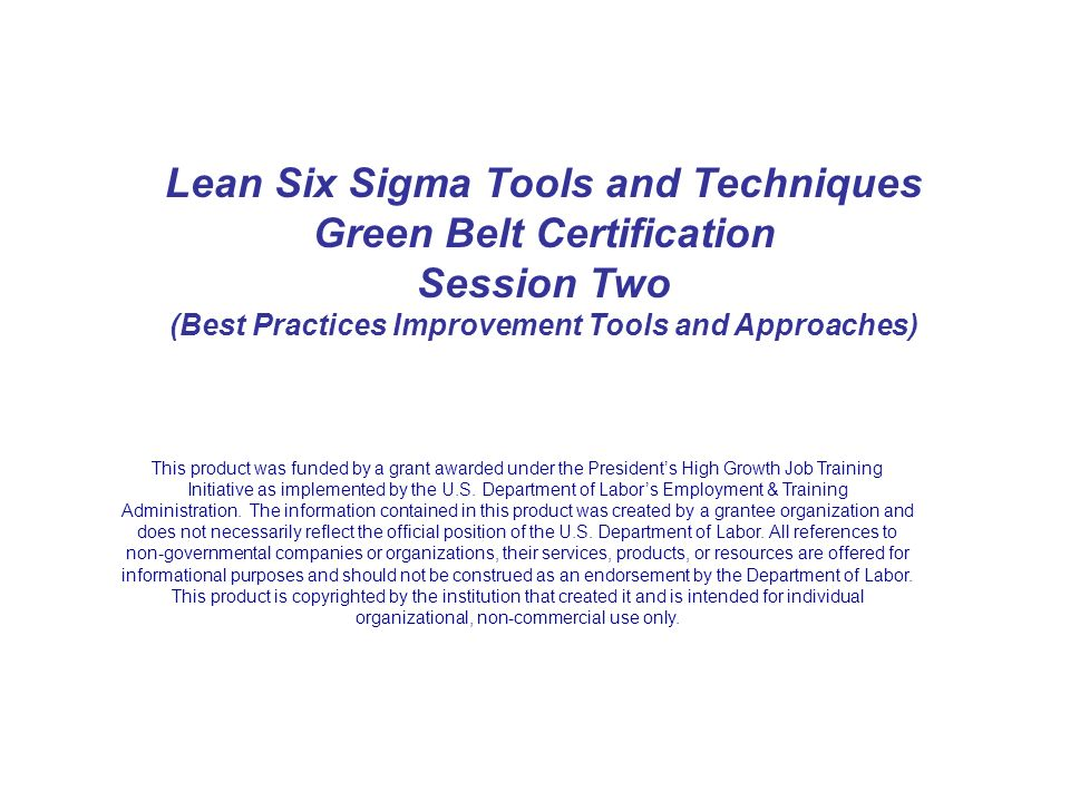 Lean Six Sigma Tools And Techniques Green Belt Certification Ppt