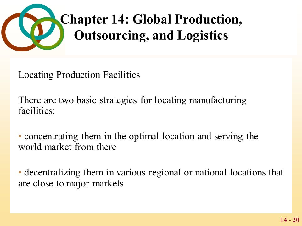 concentrated or decentralized manufacturing strategy Answer to an electronics firm is considering how best to supply the world market for  should the firm favor concentrated manufacturing or decentralized.