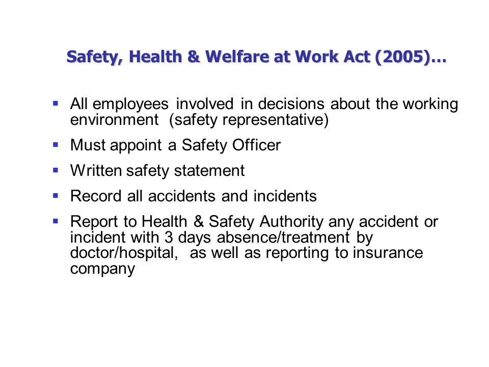 safety health and welfare of the employees Employee health and welfare keeping our employees and contractors safe and well is our top priority, no matter where they are working thousands of our contractors work on construction sites away from home – good working and living conditions help to bring about a safer and more productive working environment.