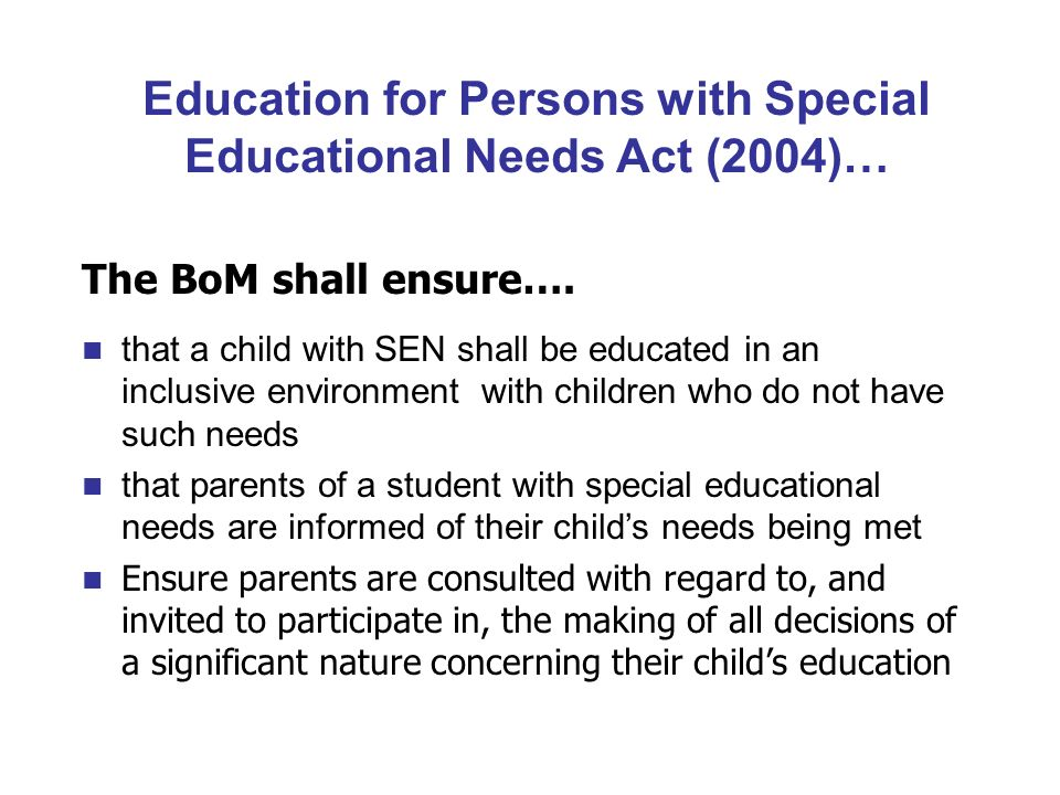 special educational needs sen child rights Children and adults with special educational needs (sen) may be subject to discrimination as a result of their additional needs due to this.
