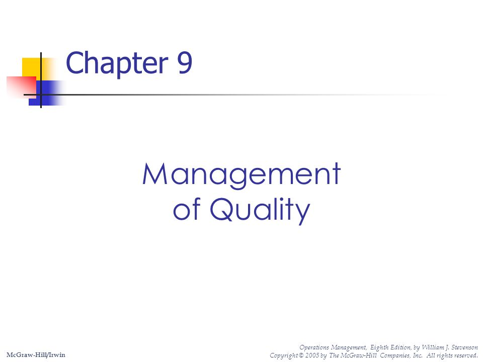Chapter 9 Management Of Quality