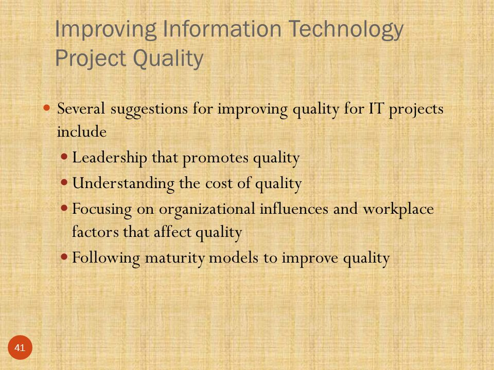 suggestions for improving project quality for Quality management comprises three main components: quality control, quality  assurance, and quality improvement for your project to be effective and.