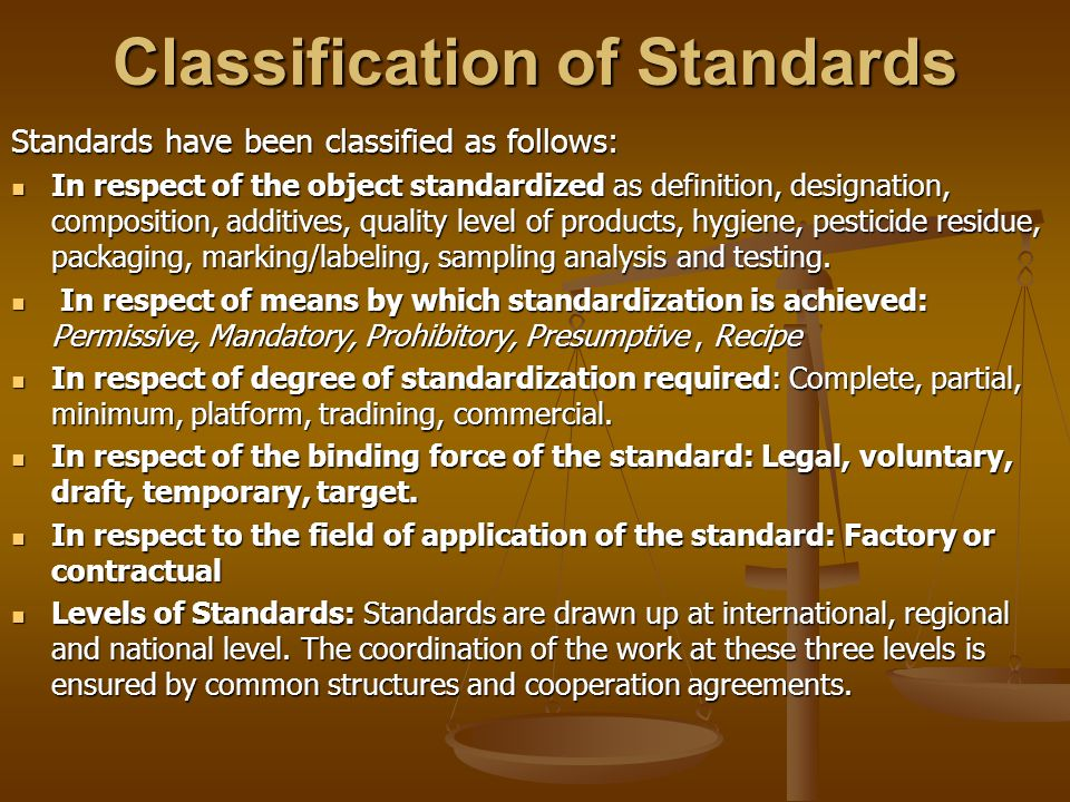 Classification of Standards