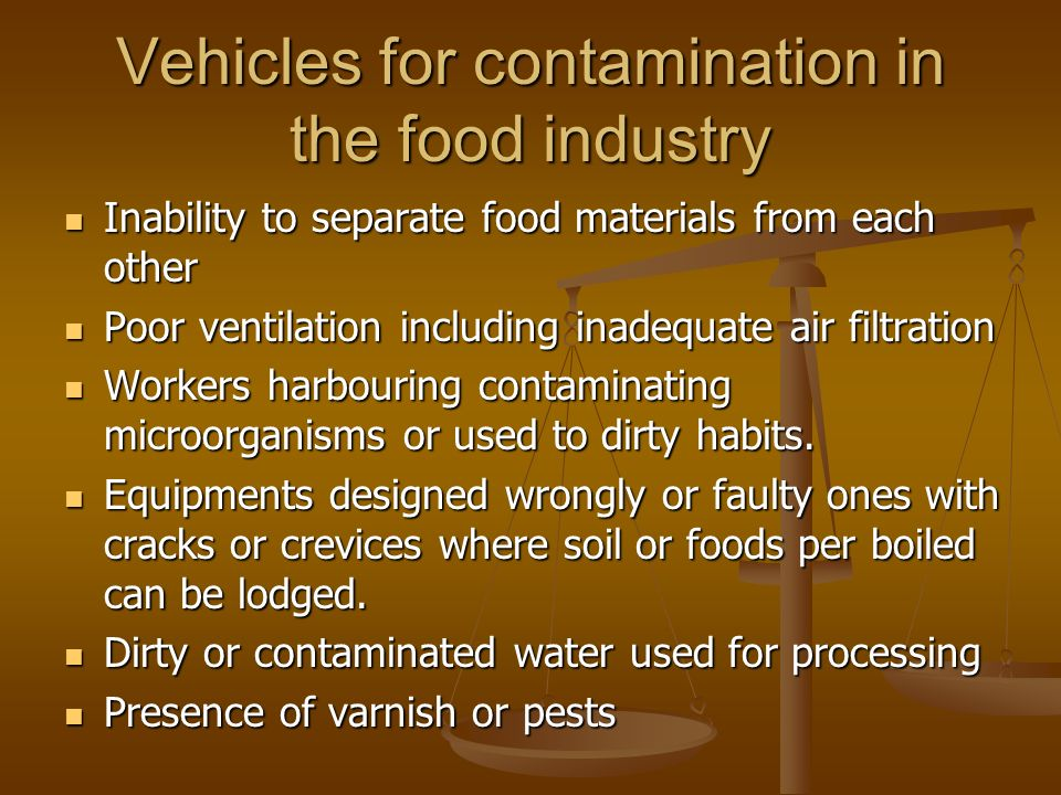 Vehicles for contamination in the food industry