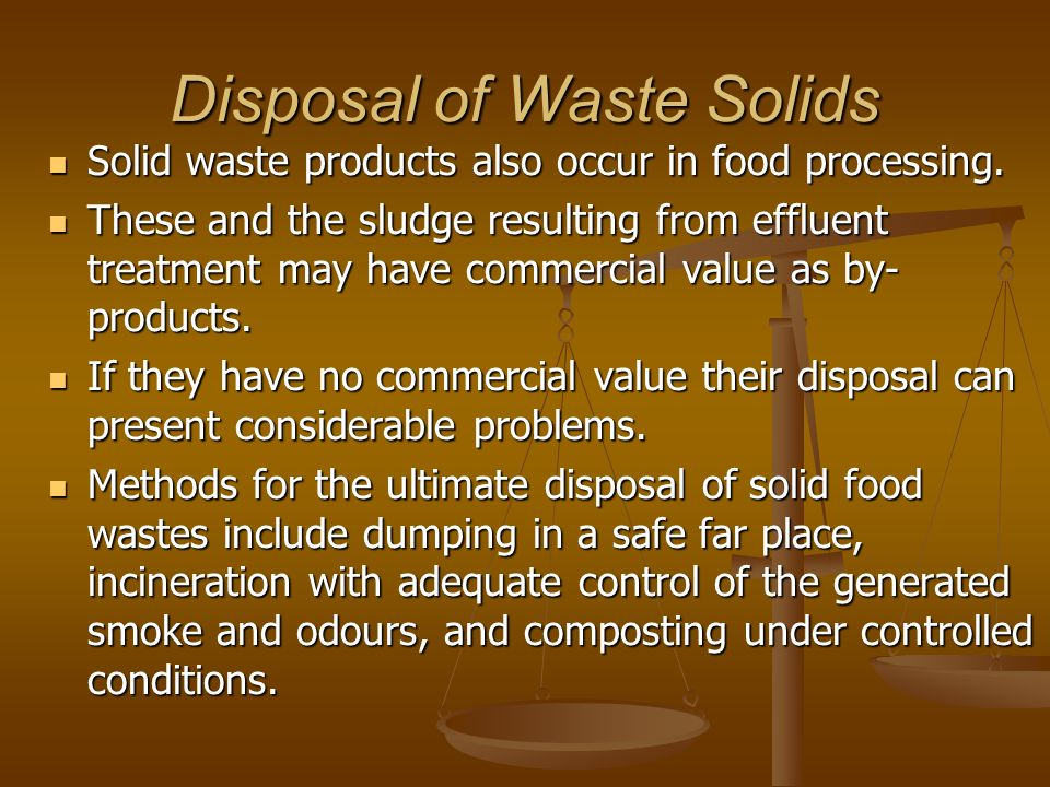 Disposal of Waste Solids