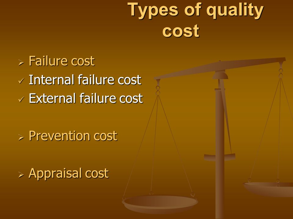 Types of quality cost Failure cost. Internal failure cost. External failure cost. Prevention cost.