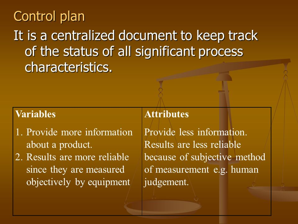 Control plan It is a centralized document to keep track of the status of all significant process characteristics.