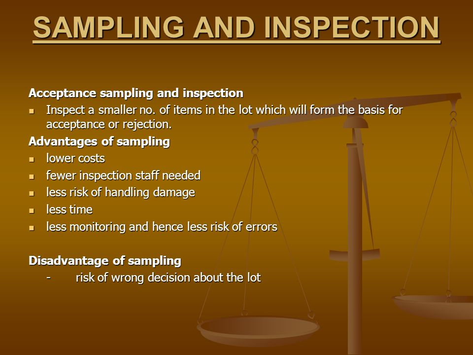 SAMPLING AND INSPECTION