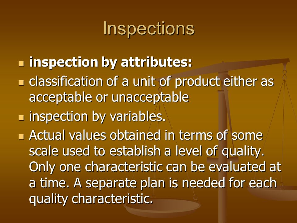 Inspections inspection by attributes: